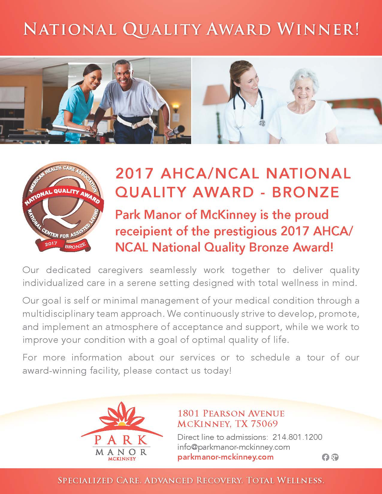 Park Manor McKinney Earns The 2017 AHCA NCAL National Quality Award